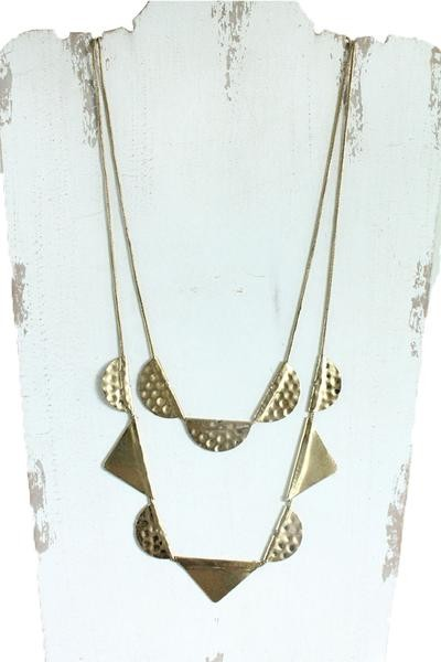 Layered geometric gold necklace