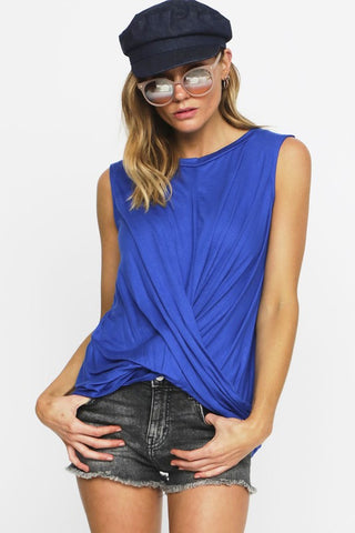 Royal Blue twist front tank - the Bobbi