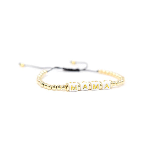 Adjustable beaded gold MAMA bracelet