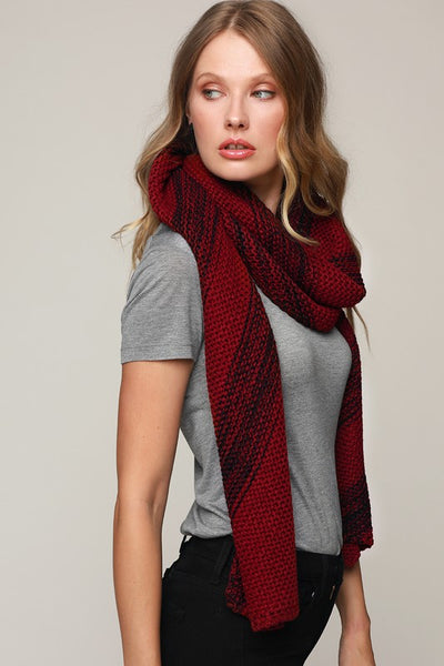 Red and Black stripe Knit scarf