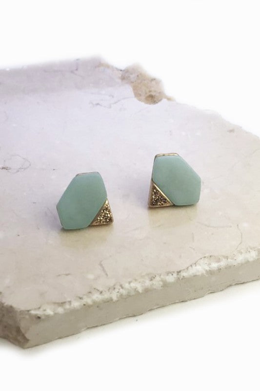 Stone and gold diamond shape studs