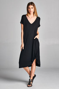 Side twist black solid dress - the Vega