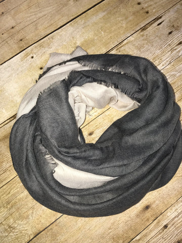 Black and cream dip dyed summer scarf