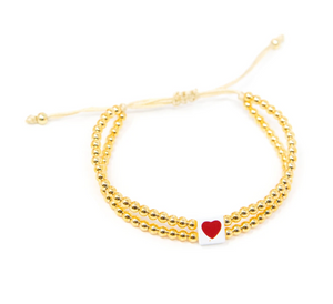 Double gold beaded adjustable heart bracelet