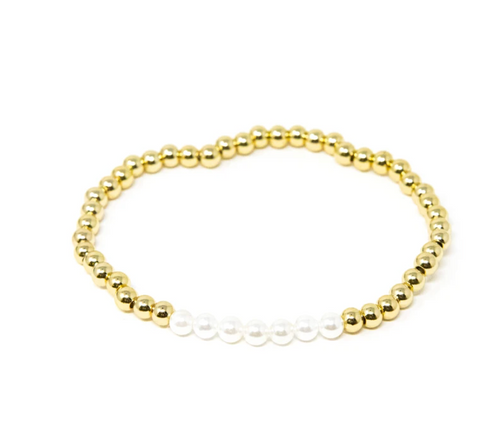 Gold and pearl beaded stretch bracelet