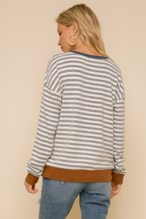 Stripe pullover in super soft hacci - the Clara