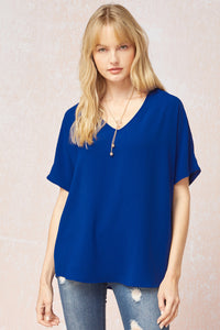 Royal Blue v-neck blouse - the Daphne