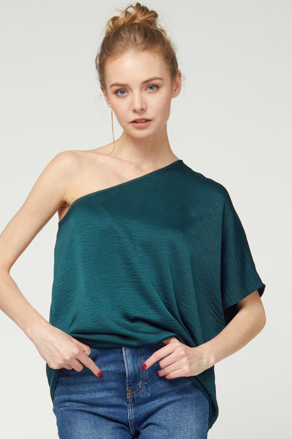 One-shoulder deep green date night top - the Diana