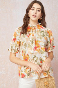 Peach Spring floral pink mock neck blouse - the Margo