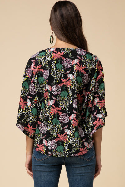 Floral Tie front Blouse - the Gigi