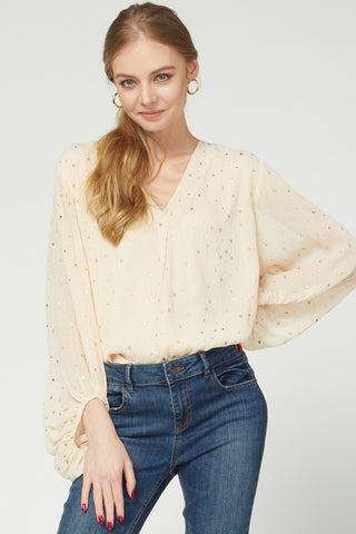 Star printed blouse with bubble sleeves - the Twilight