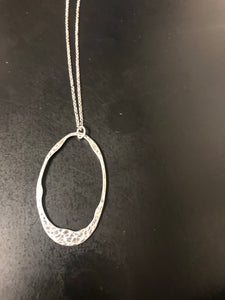 Silver Hammered Oval necklace