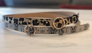 Ring buckle belt - Leopard print or Snakeskin belt