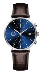 Hass Watches Co. Sapphire Date Chronograph flagship watch blue brown watch