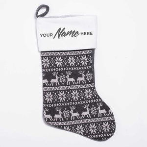 Personalised Deluxe Nordic Grey Christmas Stocking