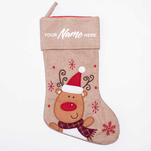 Personalised Deluxe Plush Hessian Reindeer Christmas Stocking