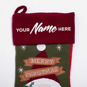 Personalised Deluxe Plush Vintage Santa Christmas Stocking