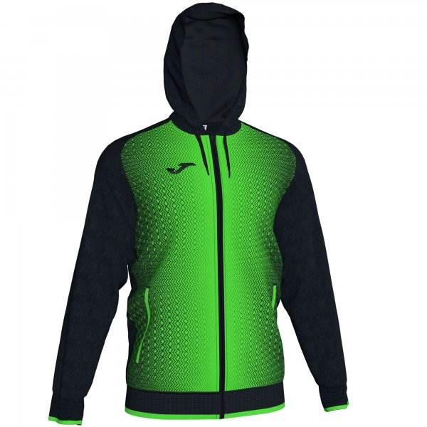 JOMA JACKET HOODED SUPERNOVA BLACK-FLUOR GREEN