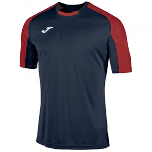 JOMA ROUND COLLAR CONTRASTING COLOUR T-SHIRT WITH RAGLAN SLEEVES PROMOTING EASE OF MOVEMENT. EMBROIDERED LOGO.