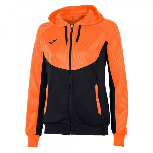 JOMA JACKET HOODIE ESSENTIAL BLACK-ORANGE WOMAN