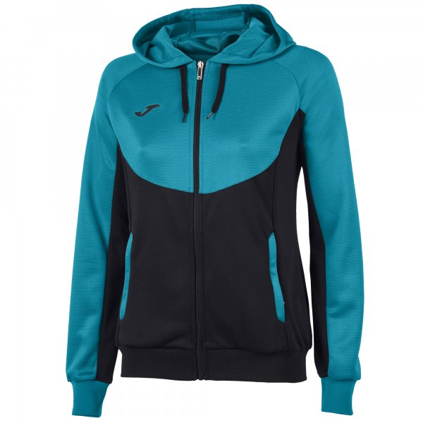 JOMA JACKET HOODIE ESSENTIAL BLACK-TURQUOISE WOMAN