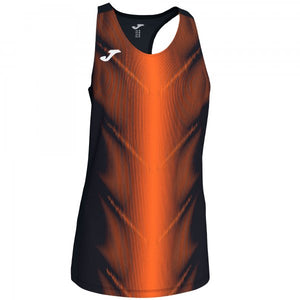 JOMA OLIMPIA T-SHIRT BLACK-ORANGE SLEEVELESS WOMAN