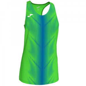 JOMA OLIMPIA T-SHIRT FLUOR GREEN-ROYAL SLEEVELESS WOMAN