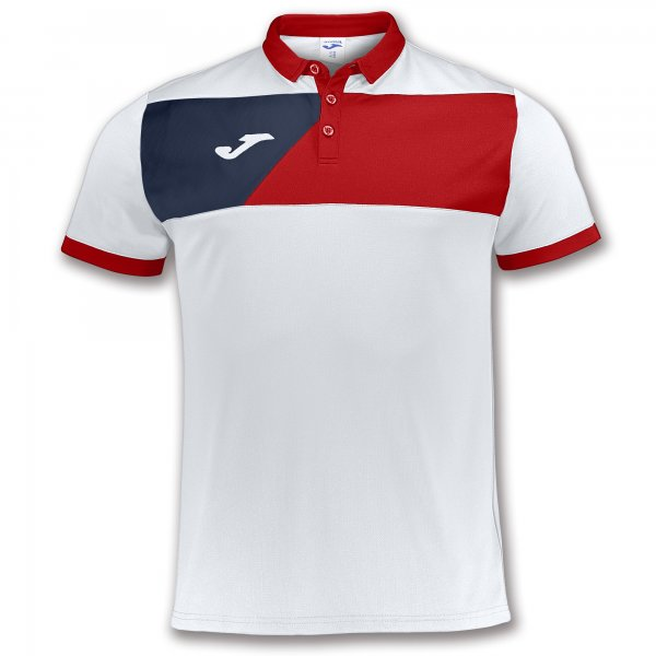 JOMA POLO SHIRT CREW II WHITE-RED S/S