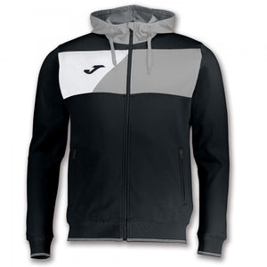 JOMA JACKET HOODIE POLY CREW II BLACK-GREY