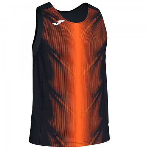 JOMA OLIMPIA T-SHIRT BLACK-ORANGE SLEEVELESS