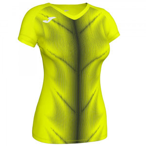 JOMA OLIMPIA T-SHIRT FLUOR YELLOW-BLACK S/S WOMAN
