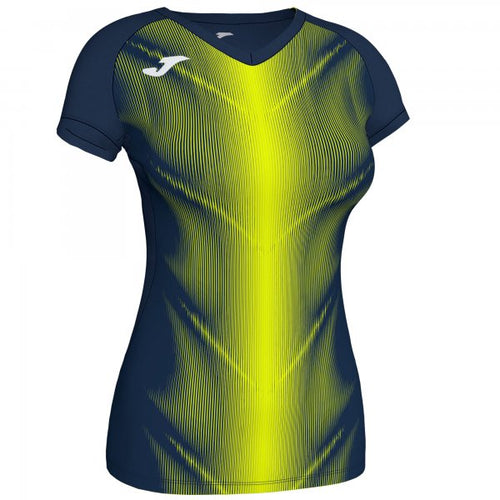 JOMA OLIMPIA T-SHIRT DARK NAVY-FLUOR YELLOW S/S WOMAN