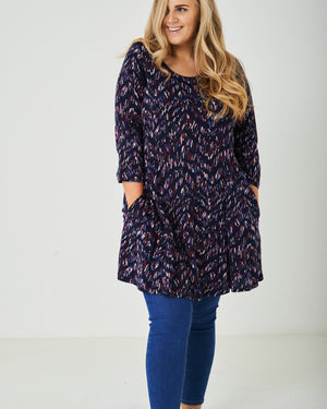 PLUS SIZE Printed Dress in Navy