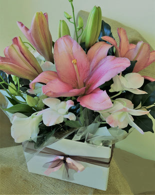 Box of lillies and orchids delivered worldwide, tugun, currumbin, bilinga