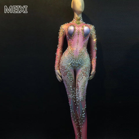 Unique design of space aliens series water diamond pearl jumpsuit