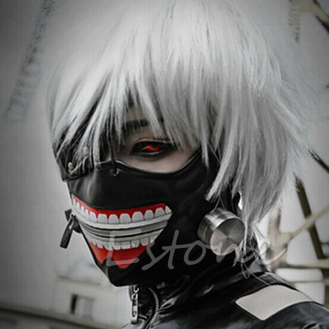 Tokyo Ghoul Kaneki Ken Adjustable Zipper Faux Leather Mask Cosplay