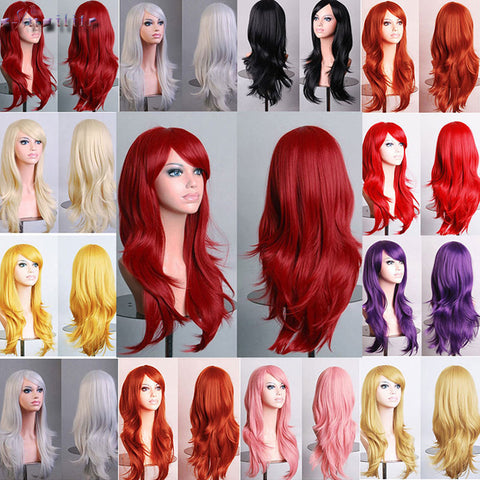 S-noilite 56CM Loose Wave Synthetic Wigs Cosplay Blonde Blue Red Pink Grey Purple