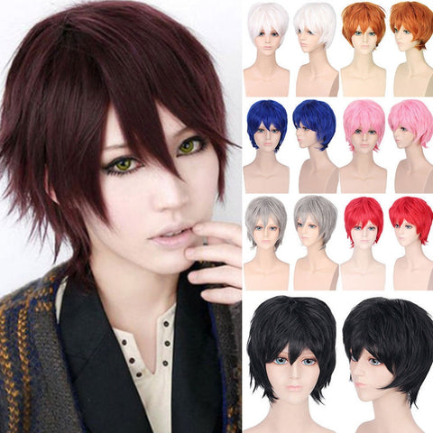 S-noilite Black White Purple Red Short Hair Cosplay Wig 30 Cm High Temperature Fiber Synthetic