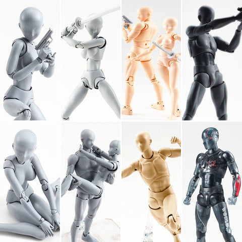 Multi-joint movable Figures SHFiguarts BODY KUN / BODY CHAN Grey / Orange Color Ver PVC Action Figure