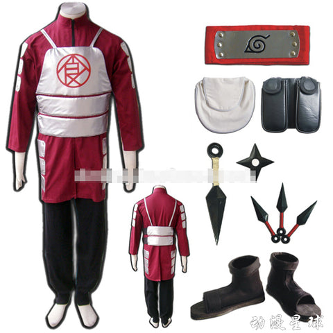 Naruto Akimichi Choji cosplay costume  include shoes+ kunai+headband+leg&waist bag full set