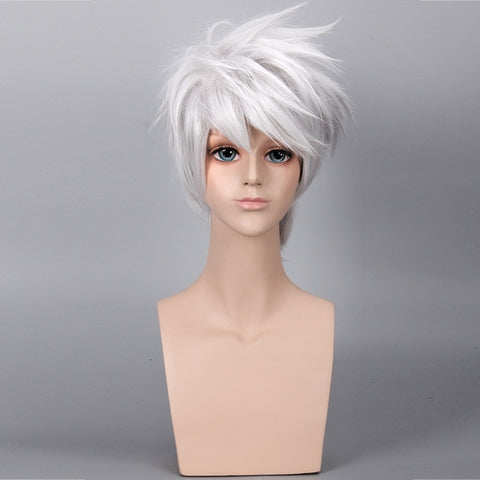 NARUTO Hatake Kakashi Short Cosplay Wig Silver White Heat Resistant Sythetic Hair Wigs + Headband + Mask