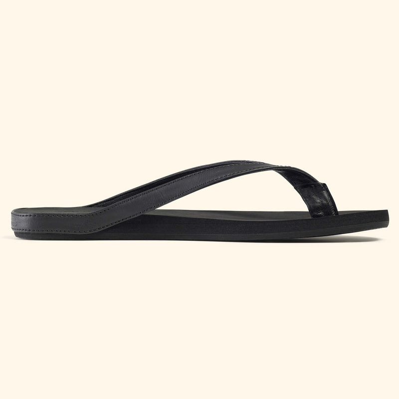 Side view of a black Mon Fred flip flop