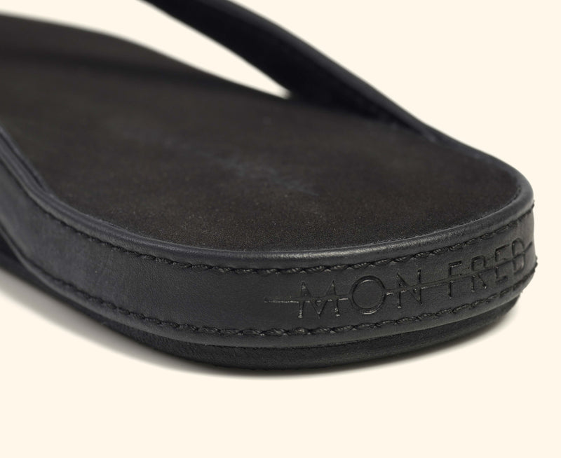 Detailed view of a black Mon Fred flip flop strap