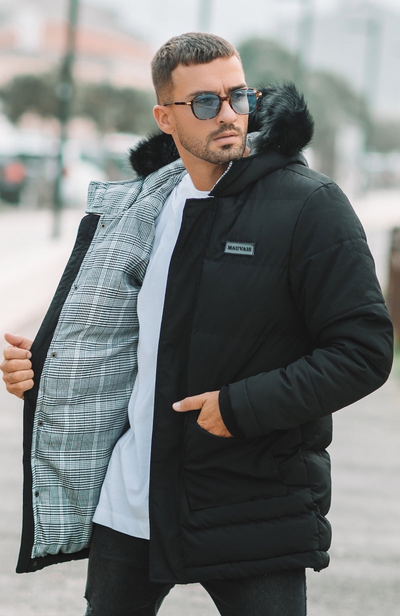 MAUVAIS Black Parka Coat with Check Lining