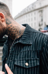 MAUVAIS Black Pinstripe Denim Jacket