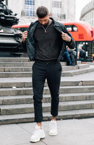 Men's Smart Black Pinstripe Cropped Trousers - MAUVAIS