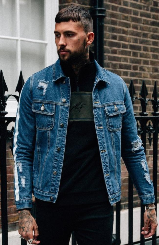 MAUVAIS Blue Distressed Denim Jacket
