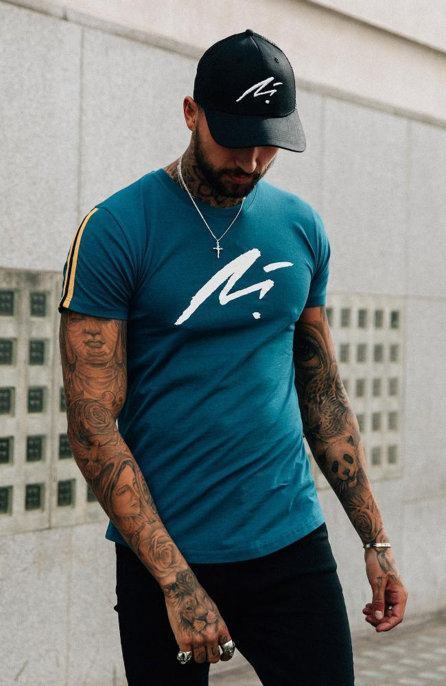 MAUVAIS Teal Abstract Logo Tee
