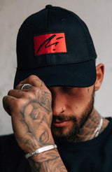MAUVAIS Red Box Logo Mesh Trucker Cap - Black