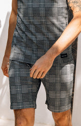 MAUVAIS Grey Check Tailored Shorts with Detachable Chain